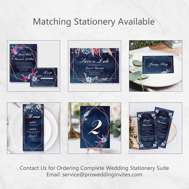 Moody Navy Watercolor Floral Wedding Table Card PWIW011