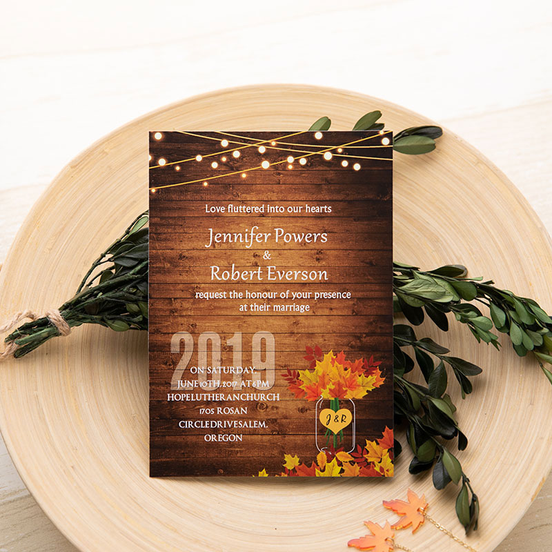 rustic woodland wedding invite with yellow maple leaves and twinkle string lights PWIF001