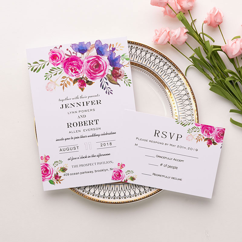 affordable vibrant magenta romantic garden florals wedding invitation PWIF004