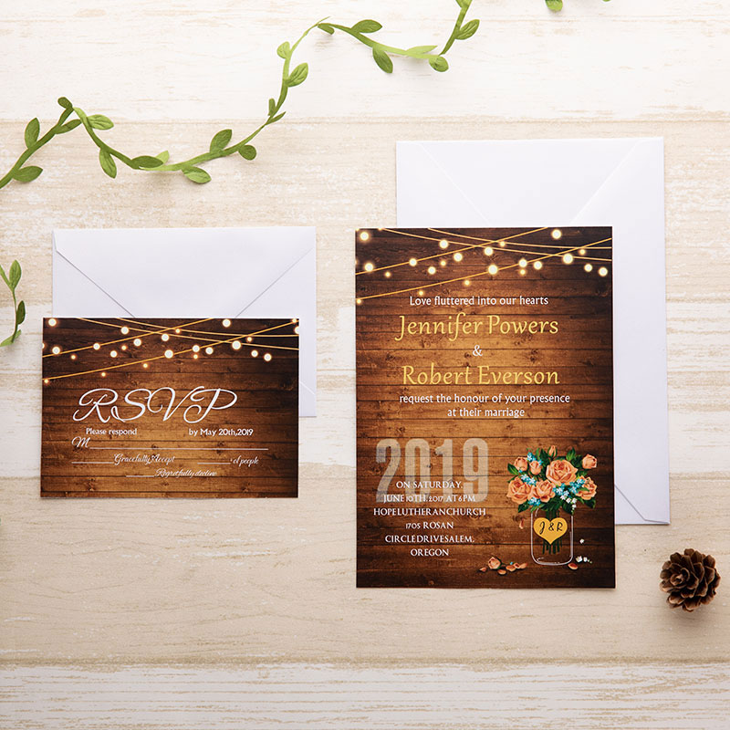 rustic woodland wedding invite with string light, attractive flower and mason jar pattern PWIF005