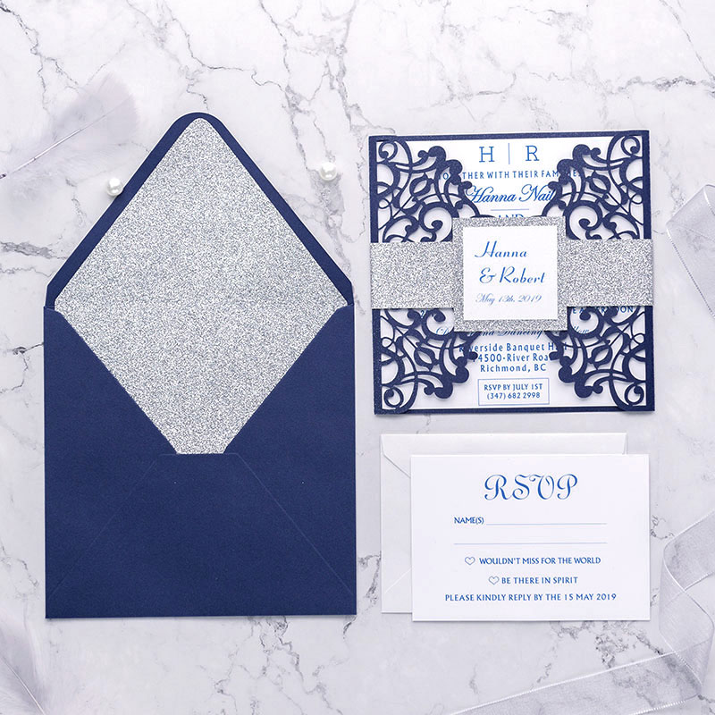 modern navy blue shimmer laser cut wedding invite with silver glittery belly band and tag PWIL008