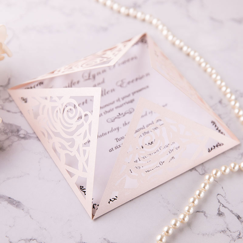 graceful blush shimmer rose pattern laser cut wedding invite with classic insert PWIL015