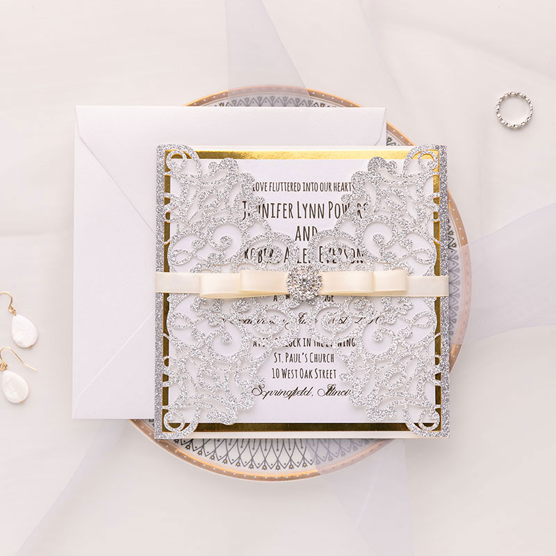 modern silver glittery laser cut wedding invite with ribbon and Bling Rhinestone PWIL019