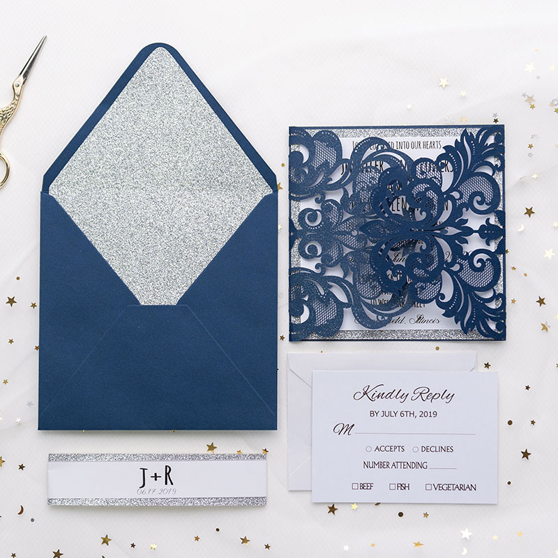 Fabulous navy blue shimmer laser cut wedding invition with silver glittery liner PWIL022