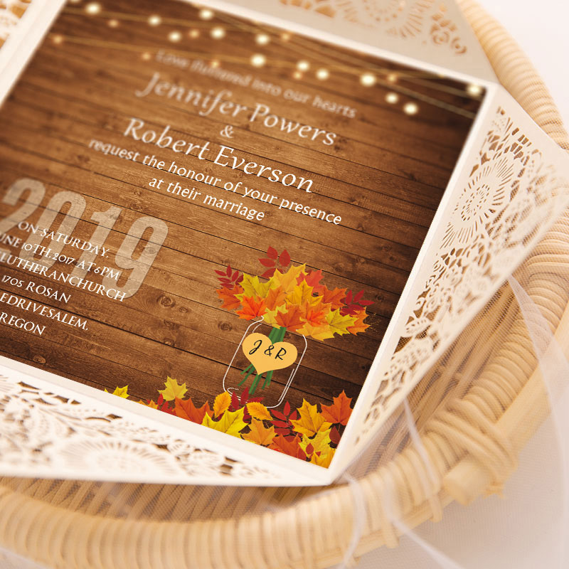 country ivory shimmer laser cut wedding invite with twinkle string light and maple leaves for fall PWIL024