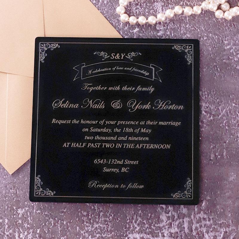 Gold UV Printed Black Acrylic Wedding Invitations PWIA013