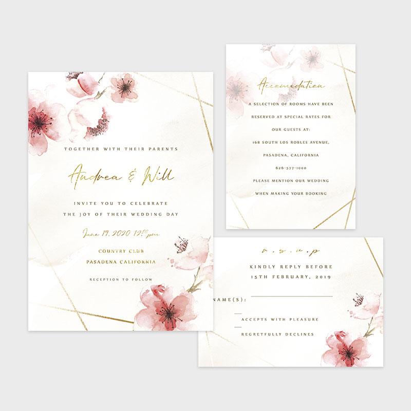 Romantic Cherry Blossom Geometric Wedding Invitations PWIF070