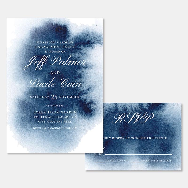 Celestial Watercolor Calligraphy Wedding Invitations PWIF071