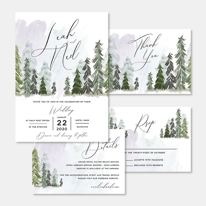 Forest Pine Tree Watercolor Wedding Invitations PWIF072