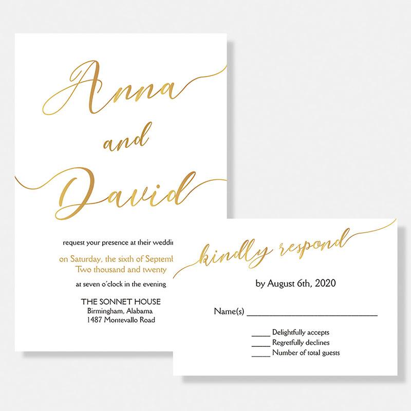Gold Foil Script Modern And Romantic Wedding Invitations PWIG006