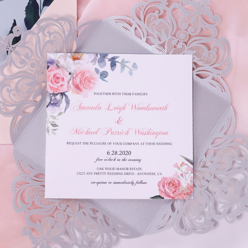 Silver, Sage And Pink Watercolor Flowers Laser Lace Cut Invitation for Birthday, Wedding or Shower PWIL126