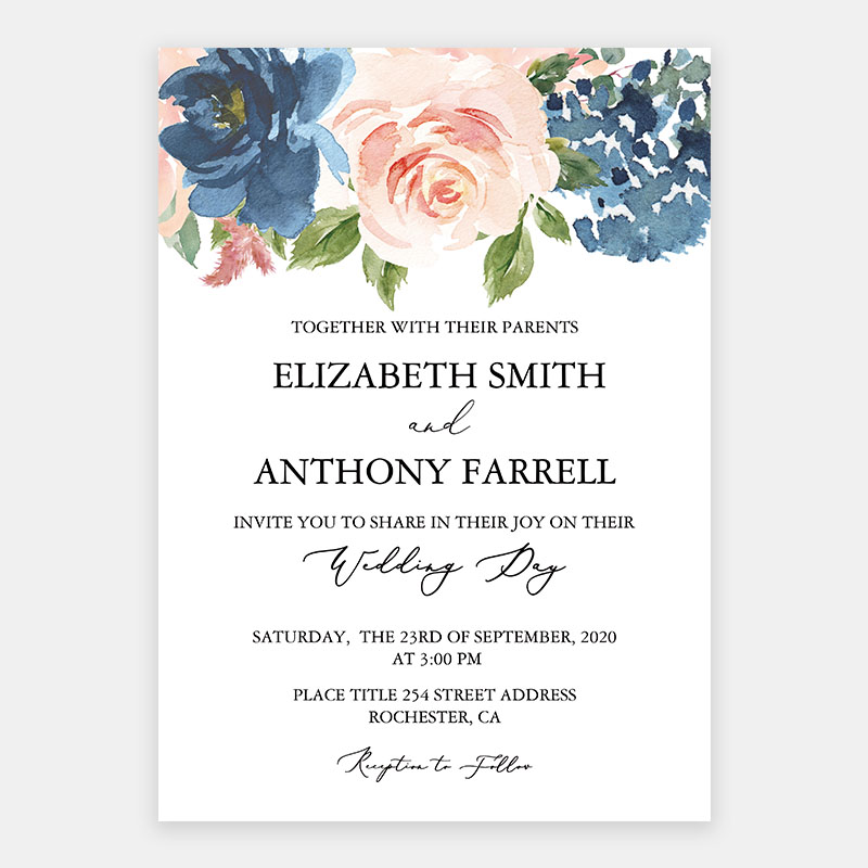 Dusty Blue and Blush Pink Floral Blooms Wedding Invitations PWIF074