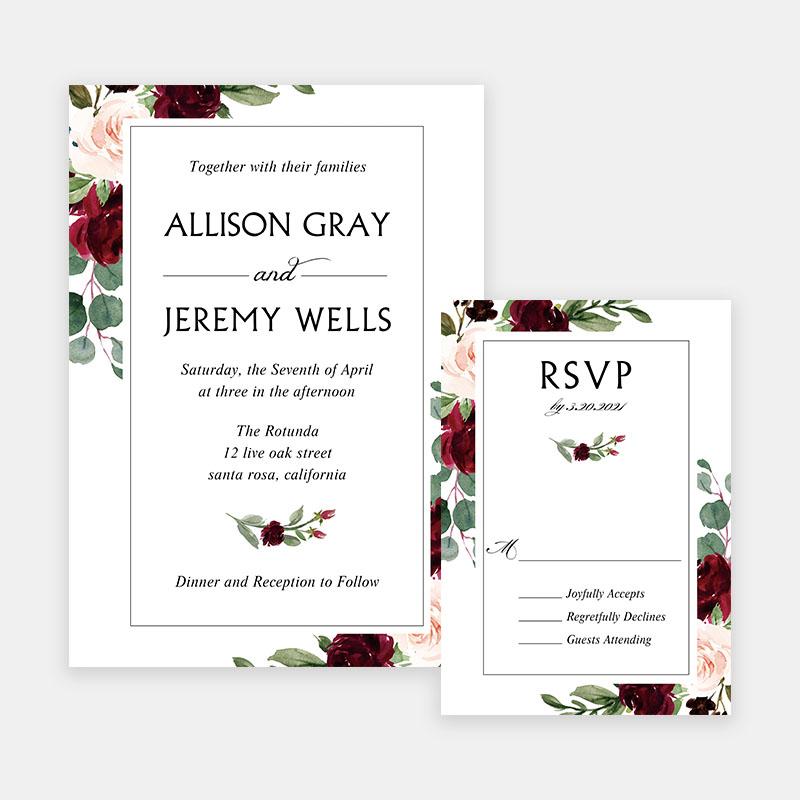 Burgundy Greenery Floral Wedding Invitations PWIF075