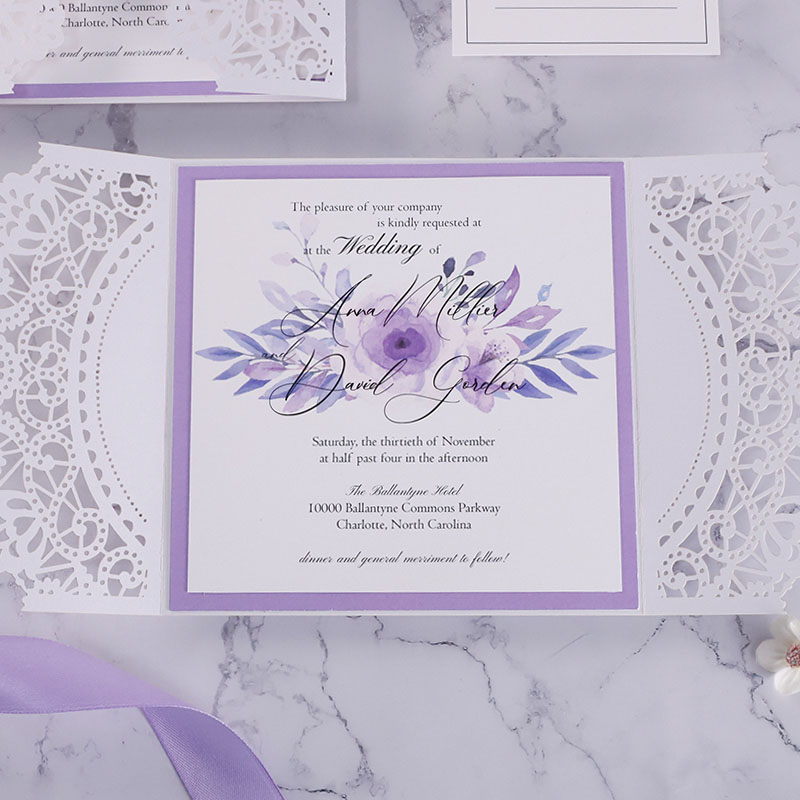 Delicate Liliac Romance Rustic Wedding Invitations PWIL130