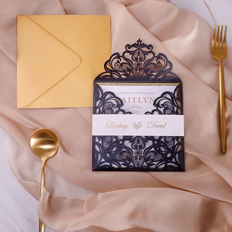 Foiled Gold Luxury Black Laser Cut Wedding Invitations PWIL131