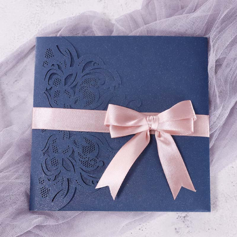 Vibrant Jewel Tone Navy Laser Cut Pocket Wedding Invitations PWIL132