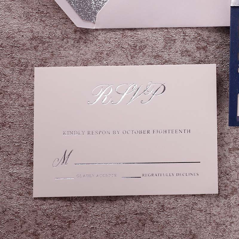 Delicate navy lace laser cut wedding invitations with rainbow silver mirror PWIL133