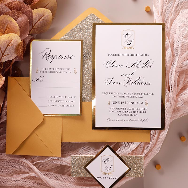 Warm Fuzzy Fall Gold Mirror Layered Monogram Wedding Invitations PWIM017