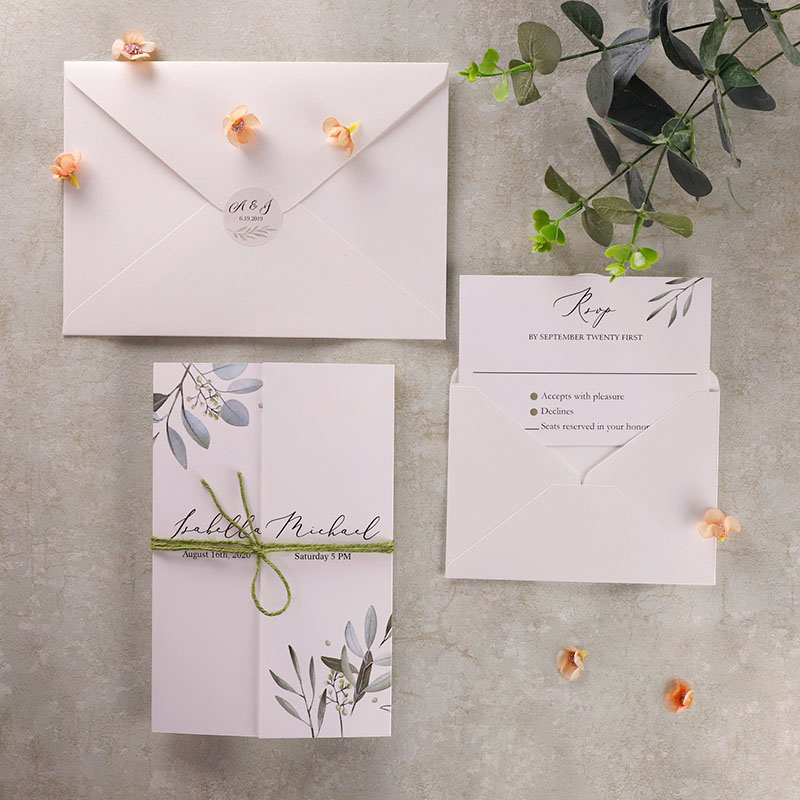 Gatefold Rustic Greenery Wedding Invite with Sage Burlap Twine PWIN003