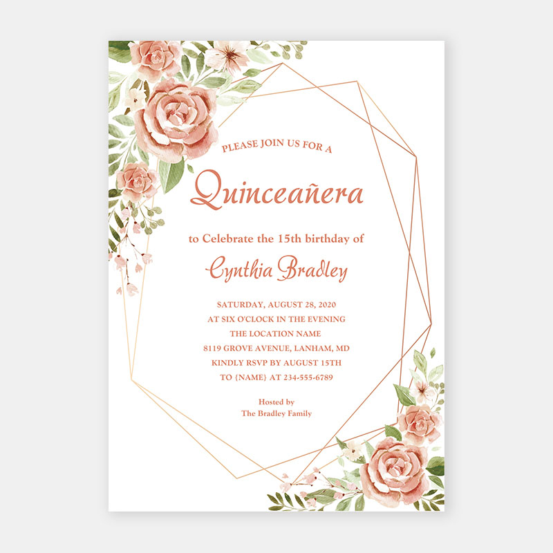 Peach Perfect Florals Quinceañera 15 16 Birthday Party Invitations PWIQ007
