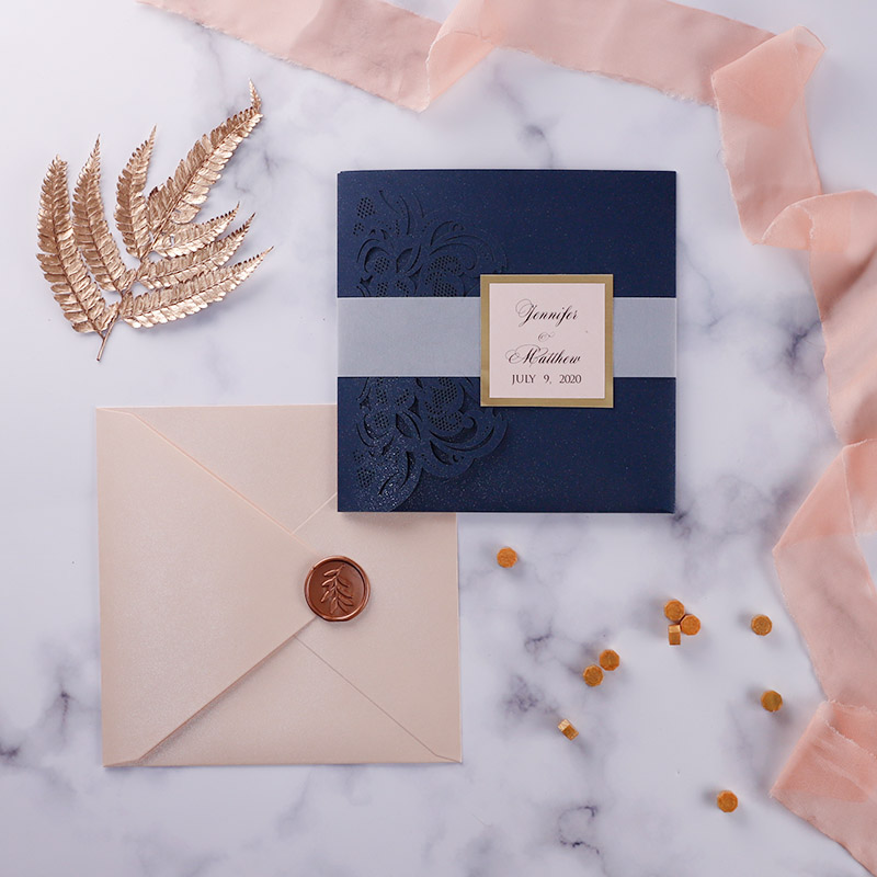 Modern Blush & Navy Sparkly Laser Cut Pocket Fold Wedding Invites PWIL135