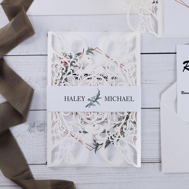 Geometric Greenery Elegant Ivory Laser Cut Wedding Invitation PWIL136