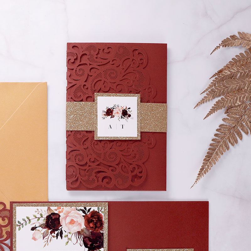 Burgundy Floral Laser Cut Pocket Wedding Invitations With Rose Gold Glittery PWIL137