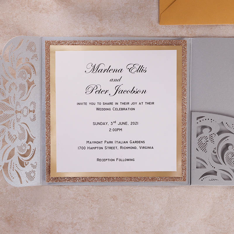 3 Layered Striking Luxury Glitter Silver Grey Pocket Invitations PWIL138