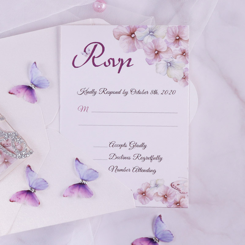 Lilac Butterfly Invitation for Wedding, Shower and Birthday Celebration PWIL139
