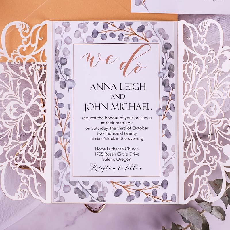 Gold Framed Greenery Lush Champagne Laser Cut Wedding Invitation PWIL140