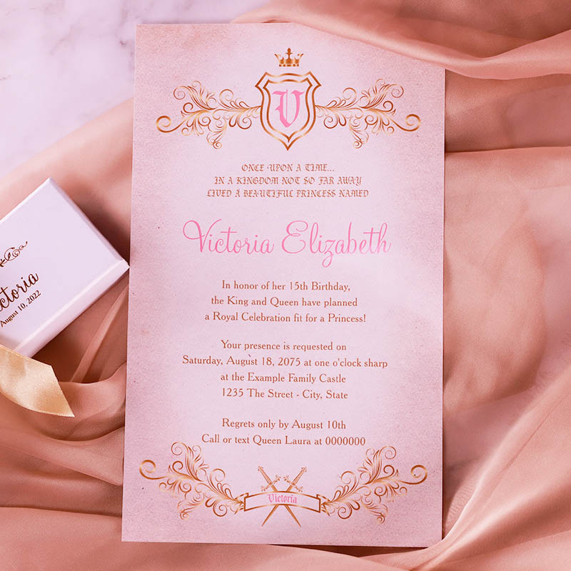 Fairytale Gold Foil Boxed Scrolls Quinceanera Sweet 16 Invitation PWIQ010 (Limited Stock! Please Contact Us For Samples)