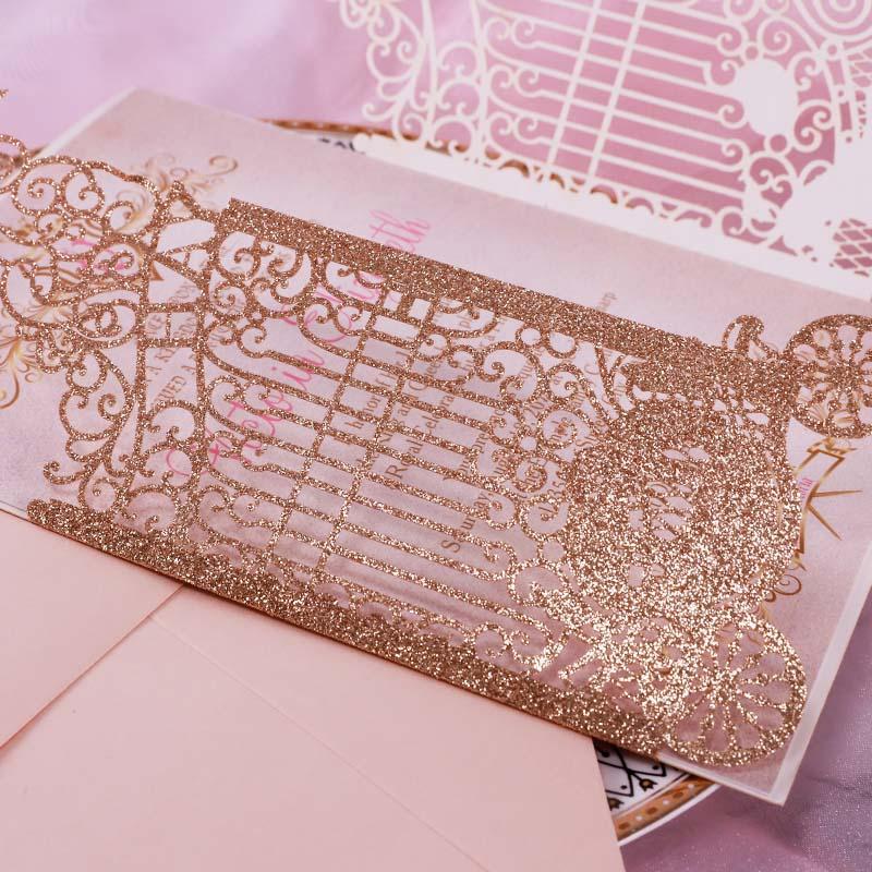 Princess Pumpkin Carriage Quinceanera Sweet 16 Laser Cut Invitation PWIQ011