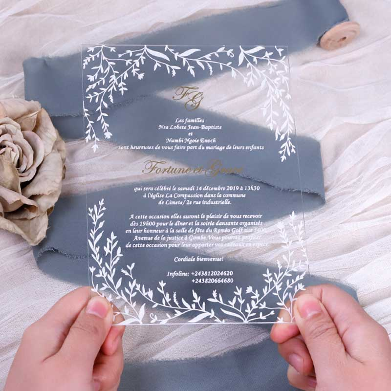 Leafy Border Acrylic Wedding Invitations Thickness 2mm With UV Printing PWIA014