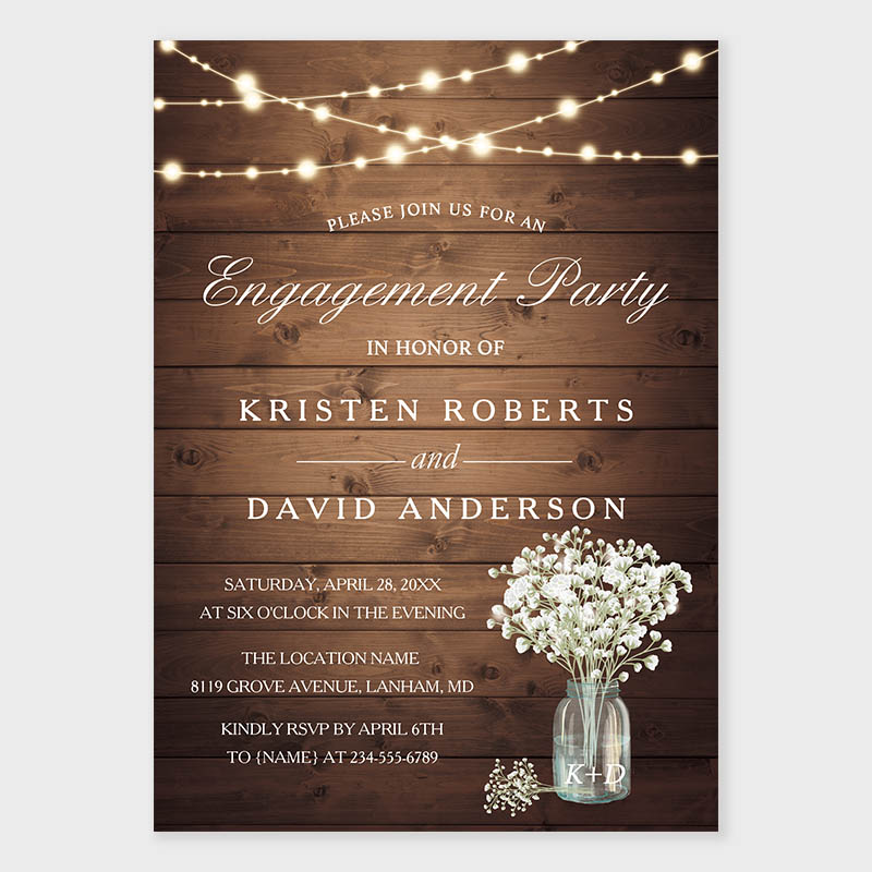 Baby\'s Breath Mason Jar Rustic Engagement Party Invite PWIE004