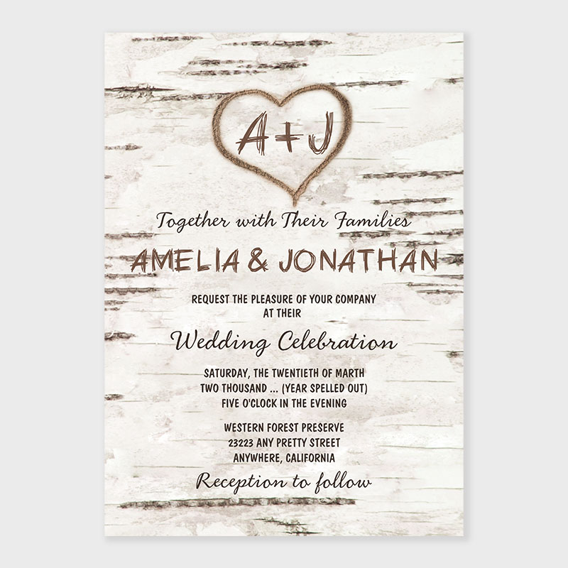 Country Rustic Birch Tree Bark Wedding Invitations PWIF076