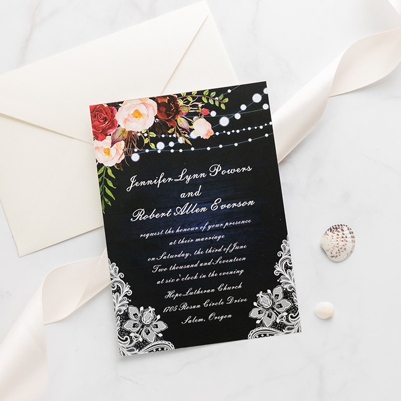 Barn Lace Vintage Wedding Invitations with Floral Light Strings PWIF078