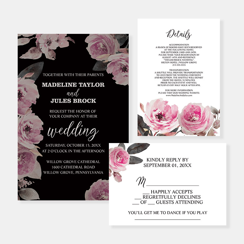 Dark, Moody, Florals and Calligraphy Boysenberry wedding invitations