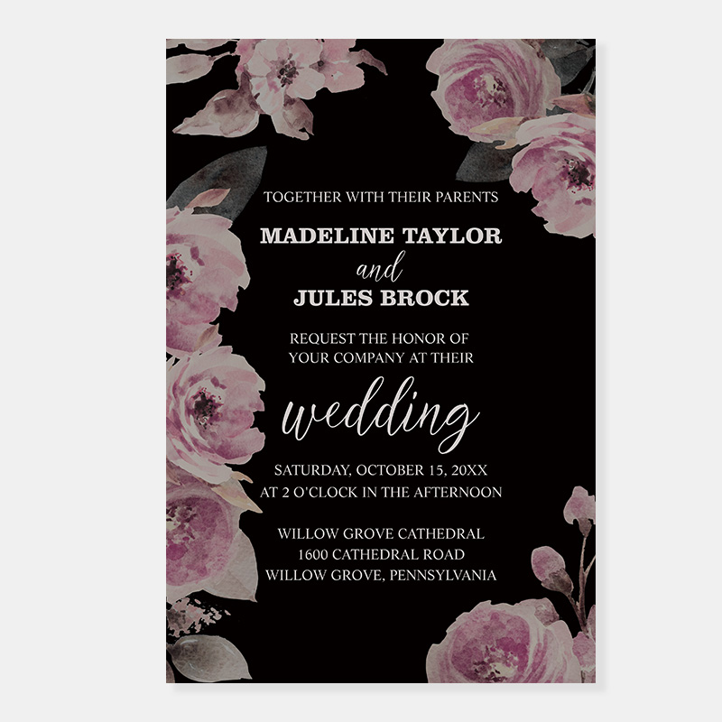 Dark, Moody, Florals and Calligraphy Wedding Invitations PWIF079