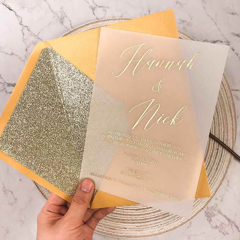 Gold Foil Script on Vellum Paper Invitation PWIG008
