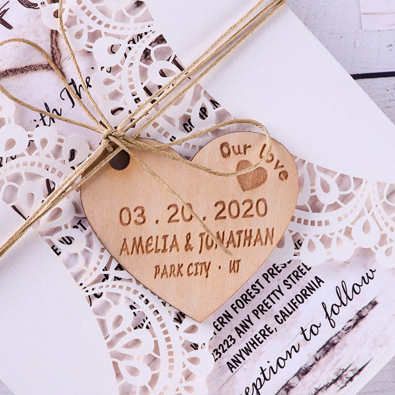 Wooden Heart Carved Oak Tree Bark Rustic Wedding Invitations PWIL141
