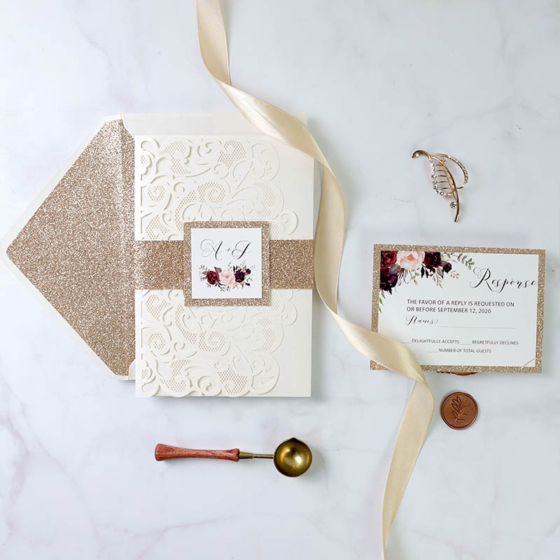 Ivory Laser Cut Pocket Wedding Invitation with Geometric Floral And Rose Gold Glittery Backer PWIL142