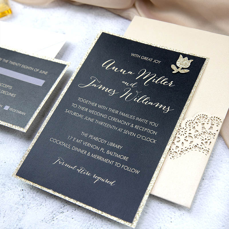 Champage and Black Elegance Lace Pocket Laser Cut Wedding Invitations PWIL145