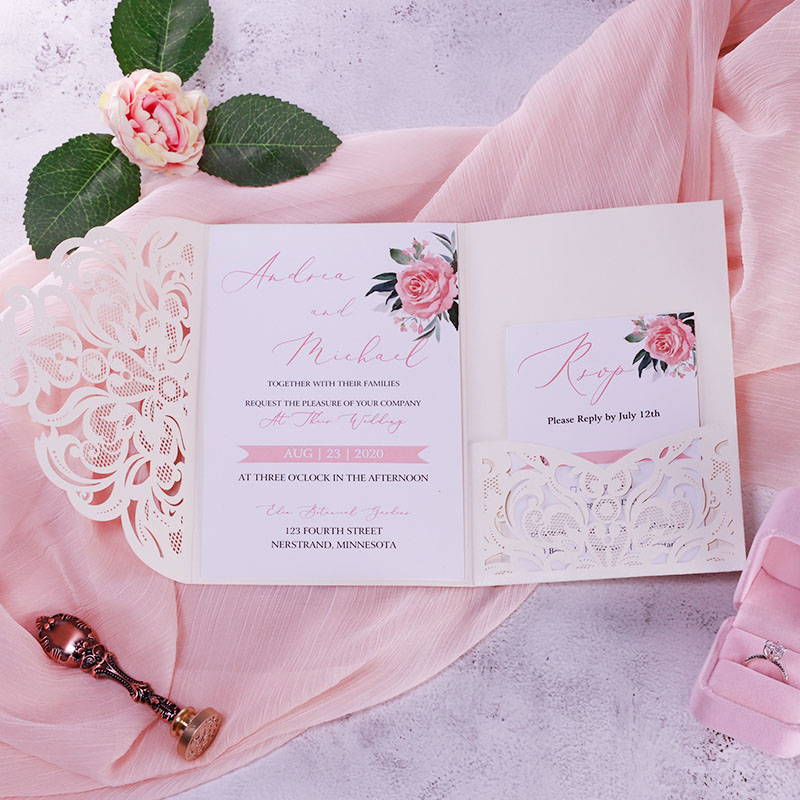 Rustic Dusty Rose Flower with Ivory Laser Cut Wedding Invitations PWIL147