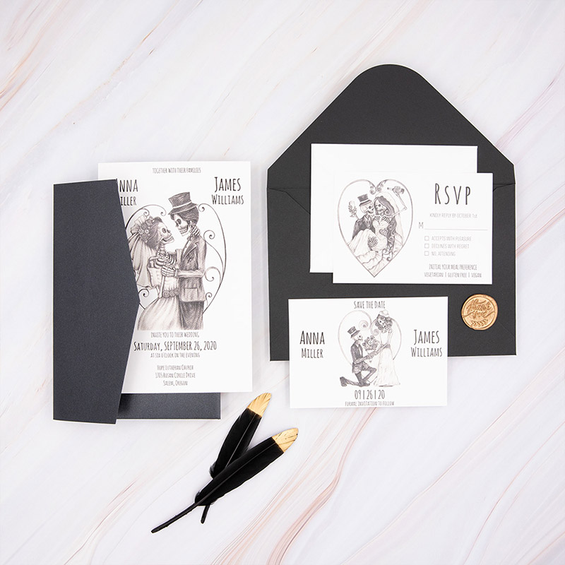 Skeleton Bride And Groom Black Halloween Pocket Wedding Invitation PWIL149