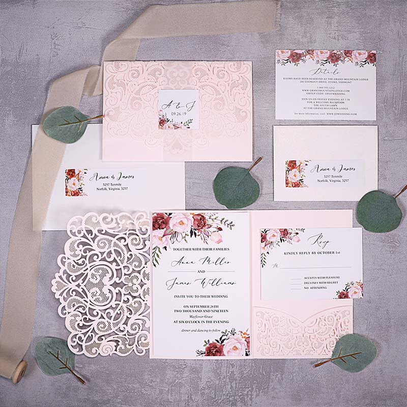 Cinnamon Rose Floral And Blush Laser Cut Wedding Invitations PWIL150