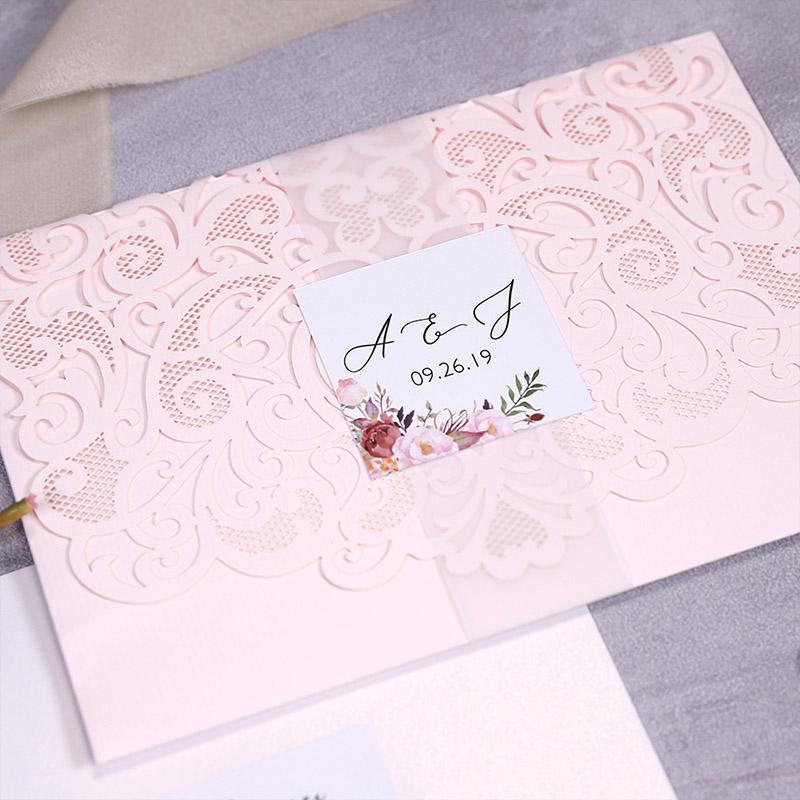 Cinnamon Rose Floral And Blush Laser Cut Wedding Invitations PWIL150