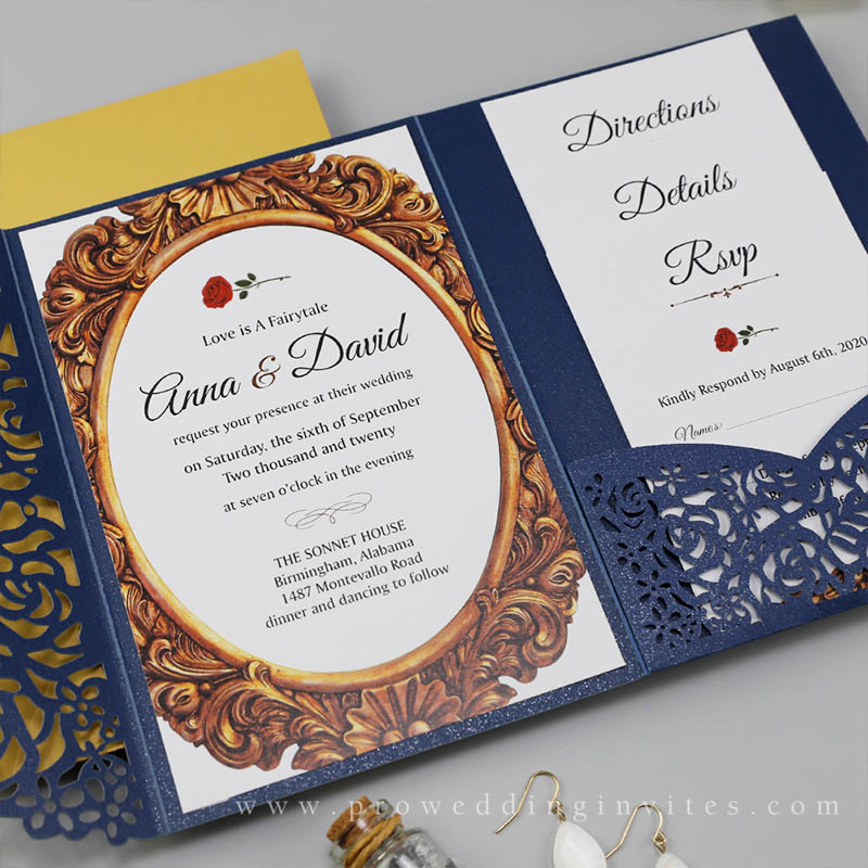 Navy Beauty And The Beast Rose Lace Wedding Invitations PWIL153