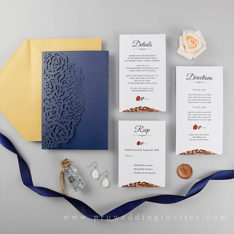 Navy Beauty And The Beast Rose Lace Wedding Invitations Be Our Guest: 47 Enchanting Beauty and the Beast Themed Wedding Ideas