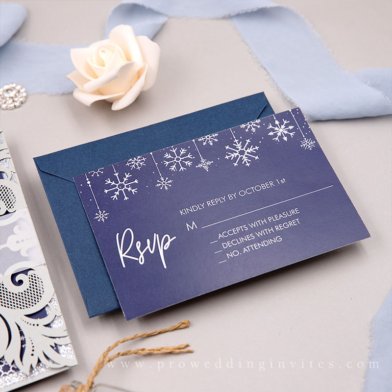 Elegant Winter Snowflake Glittery Laser Cut Wedding Invitations PWIL154