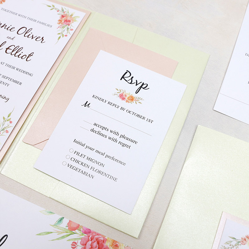 Corals, Orange, Pinks And Greens Colorful Floral Wedding Invitation Suite PWIL155